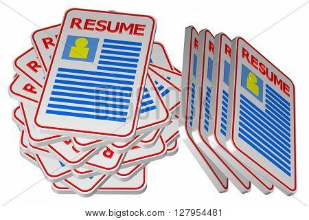 Concept: unemployment isolated on white background. 3D rendering.