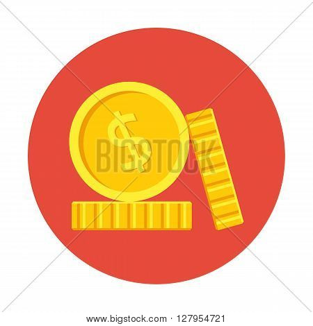 Coins Icon, Flat