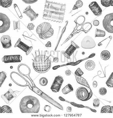 Seamless watercolor pattern of various sewing tools. Sewing kit accessories and equipment for sewing. Tools for needlework. Scissors buttons bobbins with thread and needles