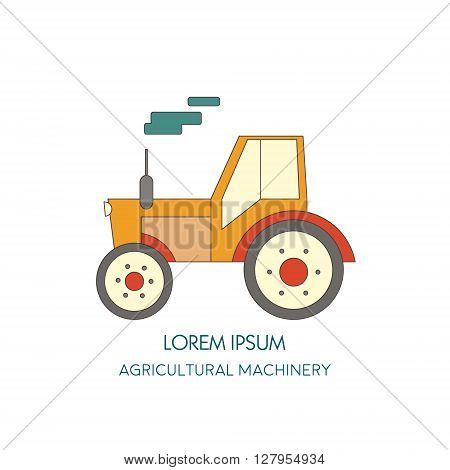 Tractor vector icon. Agricultural machinery. Vector illustration