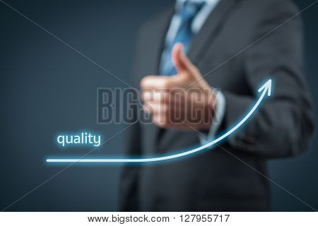 Quality improvement concept. Businessman is satisfied with company quality growth.