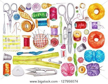Big set of various watercolor sewing tools. Sewing kit accessories and equipment for sewing. Tools for needlework. Scissors buttons bobbins with thread and needles