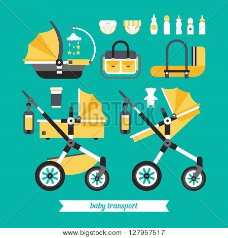Transportation baby stuff. Vector baby transport set. Baby stroller transformer. Vector baby stroller set. Newborn stuff for walking. Things you need to transport the child and walks with a newborn.