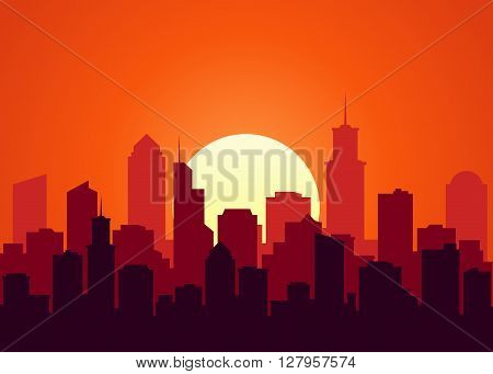 Evening cityscape vector illustration. Sunset landscape concept. City at sunset in a flat style. City landscape at twilight. Sunset background. City skyline at sunset.