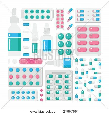 Vector drugs. Vector drug store. Medicine vector illustration. Vector drug store in flat style. Drug store set. Vector pills vitamins capsules and prescription bottles.