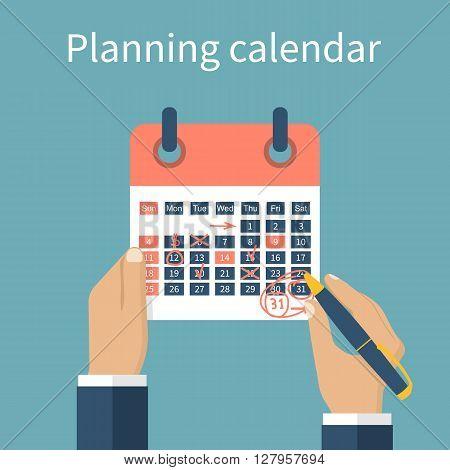 Mark Calendar. Planning