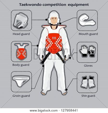 Taekwondo Korean martial art competition equipment. Sportsman in the uniform.