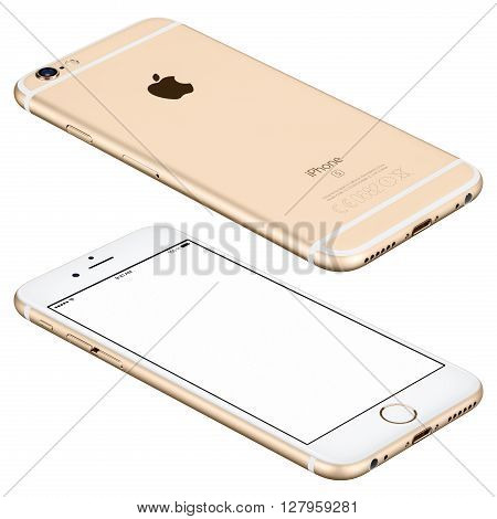 Varna Bulgaria - October 25 2015: Gold Apple iPhone 6s mockup lies on the surface with white screen and back side with Apple Inc logo. Isolated on white.