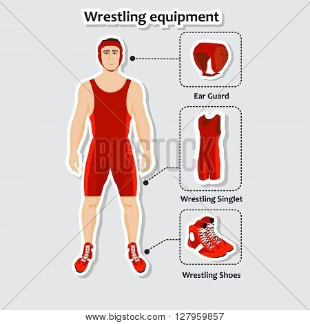 Set of wrestling equipment with man. Singlet, shoes and ear guard. Sportsman in the uniform.