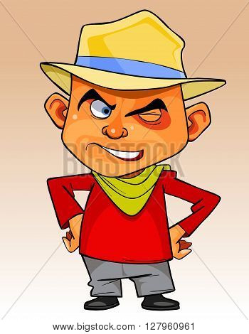 cartoon man in a hat standing with hands on hips and winking slyly