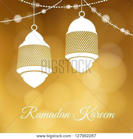 Decorative hanging arabic lanterns. Festive golden glitter blurred web background bokeh lights. Greeting card invitation for muslim community holy month Ramadan Kareem. - stock vector