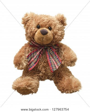 Brown teddy bear isolated on white bacground.