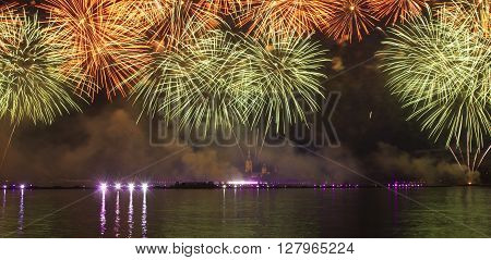 Fireworks and laser show on the Neva
