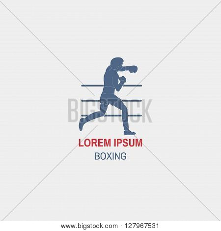 A detailed silhouette of a boxer with gloves boxing. Ready design for sign symbol button badge Icon logo etc.