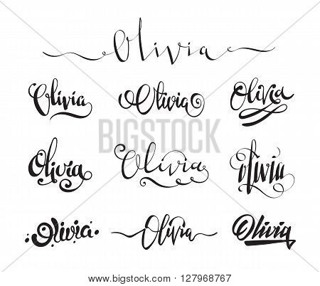 f854f494ed9b7 Personal name Olivia. Vector handwritten calligraphy tattoo design set