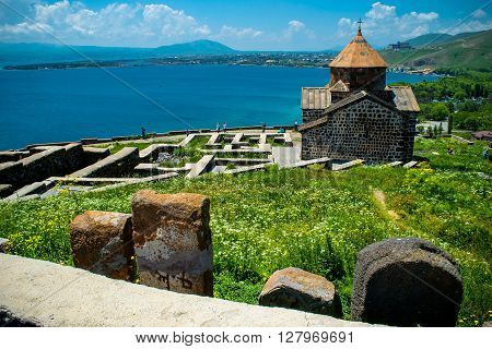 Photo of the Territory Sevanavank monastery on Sevan lake