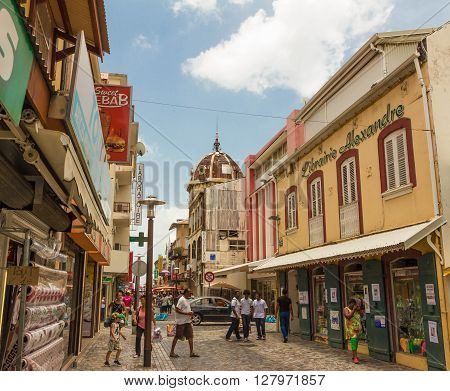 Fort de France French West Indies-April 28 2016: The shop's street in Fort de France in French West Indies.