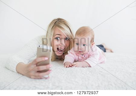 Baby Make Selfie On Mobile Phone
