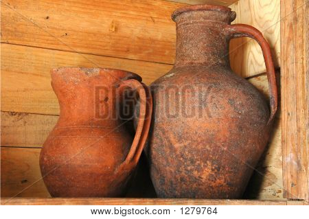 Old Clay Wine Jugs In A Traditional Adega Wine Cellar In The Azo
