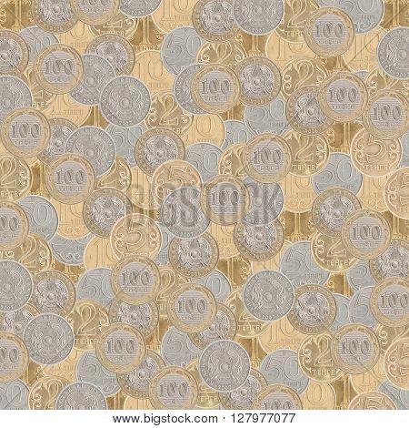 Texture from different Kazakhstan coin tenge closeup
