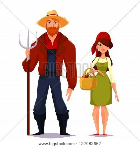 Farmer couple of spouses, cartoon isolated on a white background illustration of a man wearing a straw hat and a pitchfork, red shirt, a girl in scarf and basket assembly vegetables