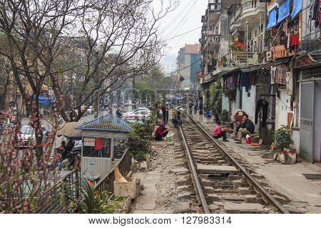 Hanoi, Vietnam - February 19, 2016: Old Houses Built Next To The Railway In The Center Of Hanoi