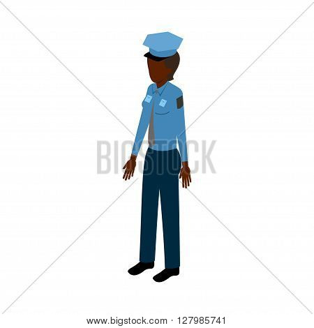 African-American woman in police uniform standing full face. Stock Isometric-style games, infographics, reports, websites and icons