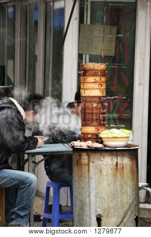 Lunch On The Street In Asia