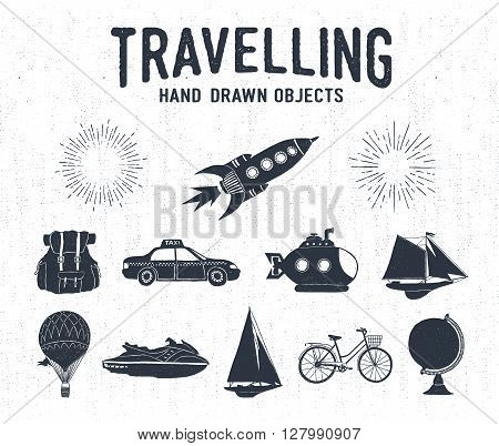 Hand drawn textured vintage travel icons set with rocket backpack taxi submarine yacht hot air balloon bicycle water scooter and starburst vector illustrations.