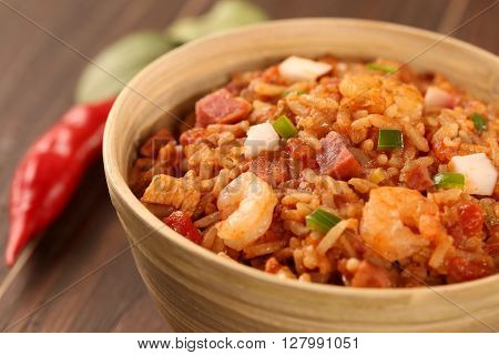 Creole Jambalaya - Rice Cooked With Shrimp, Smoked Sausage And Tomatoes.