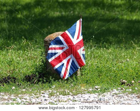 A British Flag marks the way to the British and European Car Day event.
