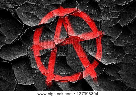 Grunge cracked Anarchy sign with rough edges