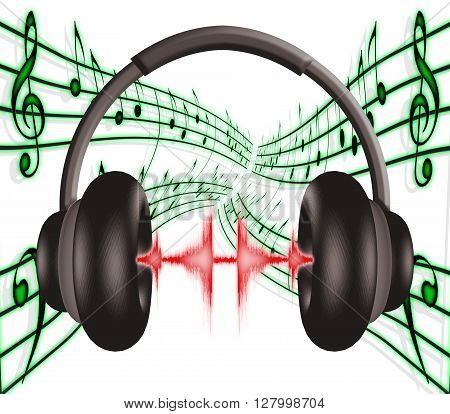 3D illustration of a pair of headphones with sound wave effects and music score background