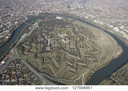 Aerial view from a helicopter of an vauban style old fortress in Arad Transylvania Romania