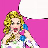 Surprised young sexy woman shouting/yelling on retro telephone.Advertising poster.Comic woman.Gossip girl, red cheeks, curls, sexy girl, shout, hipster, hey, wow,announcing, yes. Pop Art girl.Call me. poster