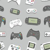 seamless background with game consoles for your design poster