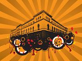 an old building drawn in black silhouette on an orange background poster