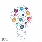 Ideas for techology. Tools and services for network. Light bulb with icons in flat style for tools programs slides. Vector illustration concept of UX thought and enlightenment. poster