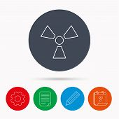 Radiation icon. Radiology sign. Calendar, cogwheel, document file and pencil icons. poster