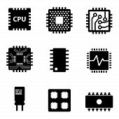 Vector black CPU microprocessor and chips icons set. Electronic chip icons on white background poster