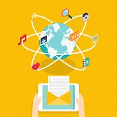 Marceting concept of running email campaign email advertising direct digital marketing.Social media flat 3d isometric pixel art modern design concept vector icons composition set. Desktop chat video photo music phone tablet. Flat web illustration infograp poster