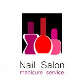 Nail Salon logo. Symbol of manicure. Design sign - nail care. Beauty industry, nail salon, manicure service, spa boutique, cosmetic products. Cosmetic label.  poster