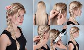 simple braid hairstyle tutorial. Romantic evening hairstyle for long hair. Blond model with braid hairstyle with fresh flowers poster