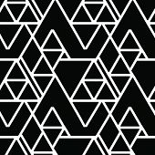 Vector geometric seamless pattern. Repeating abstract lines pattern in black and white. Classical triangle flat texture, pattern design 80s style poster