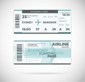 Airline boarding pass Economy Class ticket template. Vector Plane ticket illustration. Ticket Pass Card modern element vector design template poster
