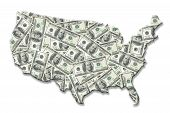 map of united states of america superimposed on one hundred dollar banknote background over white poster