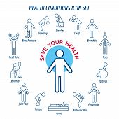 Health conditions icons and diseases signs. Vector illustration poster