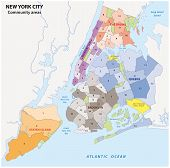 administrative map of new york city, boroughs, districts and neighborhoods poster
