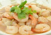 shrimp cooking with vegetable oil one of thai food poster