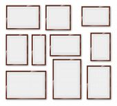Different sizes and A4, B4, C4 proportion  wooden frames on a white background with thick borders. Vector Illustration set poster